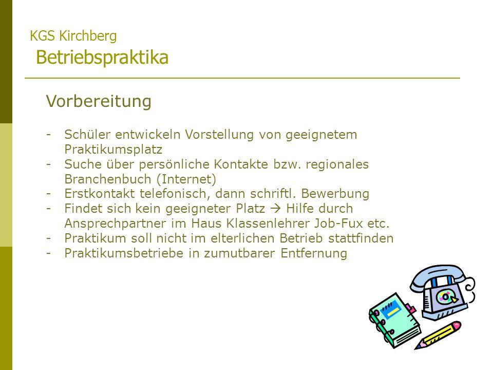 Vorbereitung KGS Kirchberg Betriebspraktika