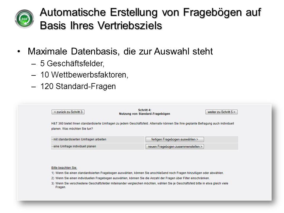 Automatische Erstellung von Fragebögen auf Basis Ihres Vertriebsziels