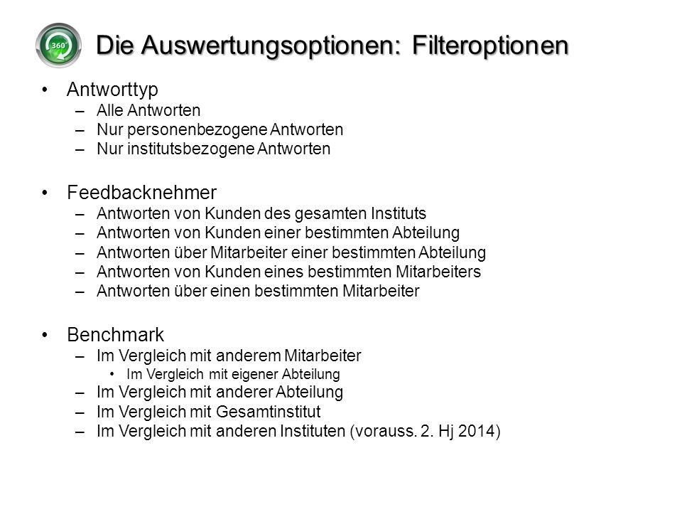 Die Auswertungsoptionen: Filteroptionen