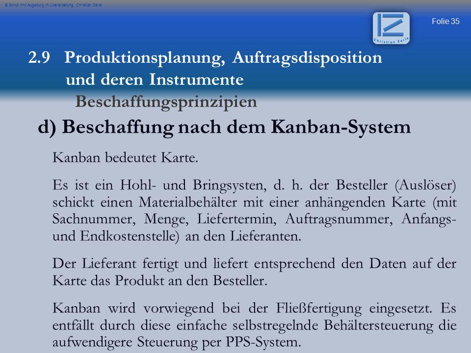d) Beschaffung nach dem Kanban-System