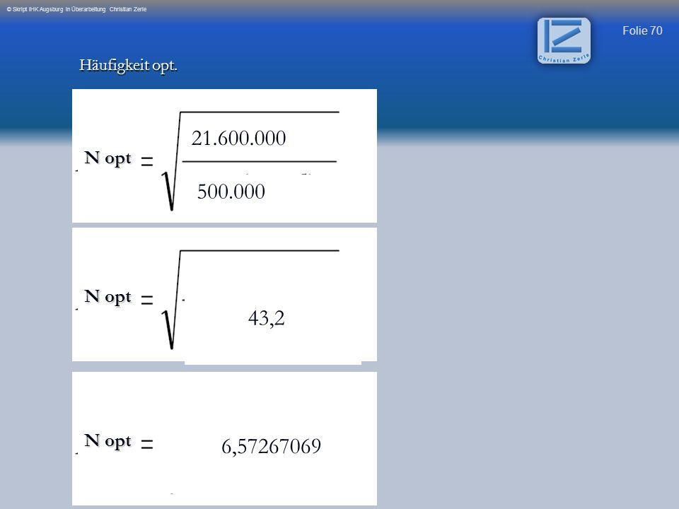 21.600.000 500.000 43,2 6,57267069 N opt N opt N opt Häufigkeit opt.