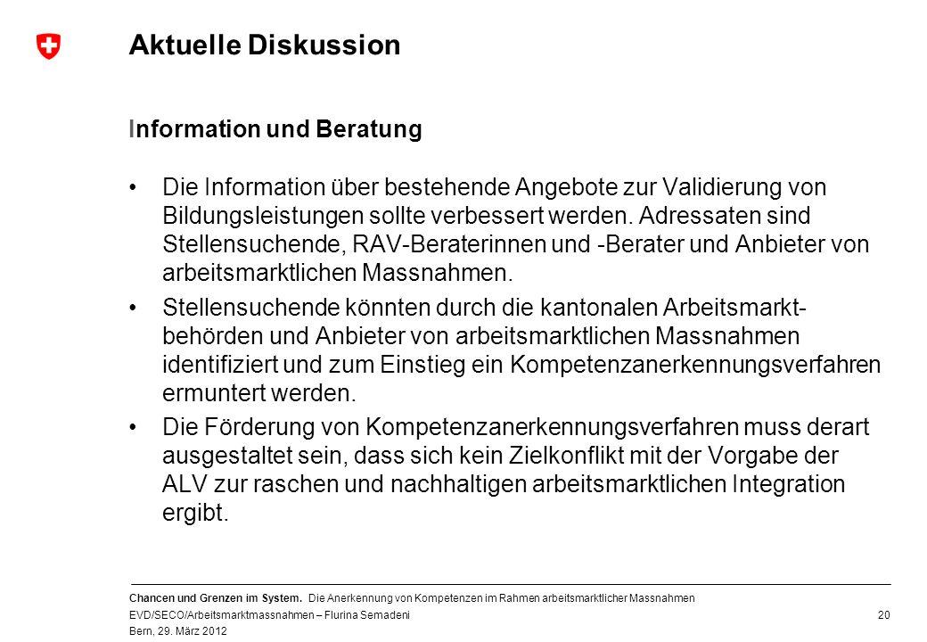 Aktuelle Diskussion Information und Beratung