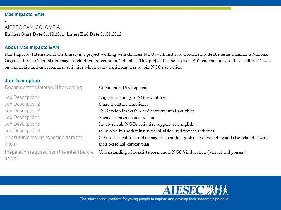 Más Impacto EAN - AIESEC EAN, COLOMBIA