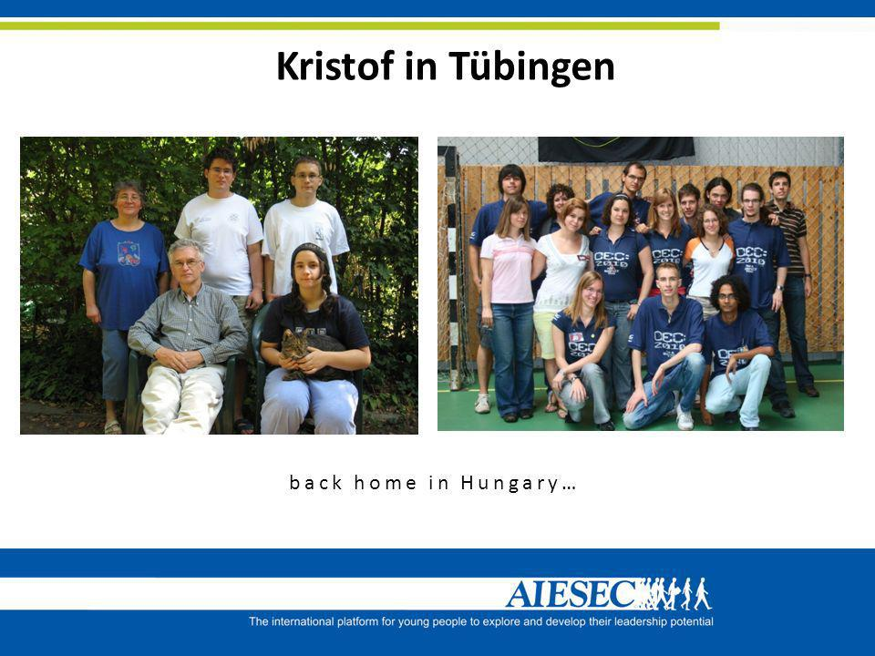 Kristof in Tübingen back home in Hungary…