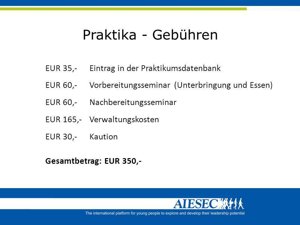 Praktika - Gebühren EUR 35,- Eintrag in der Praktikumsdatenbank