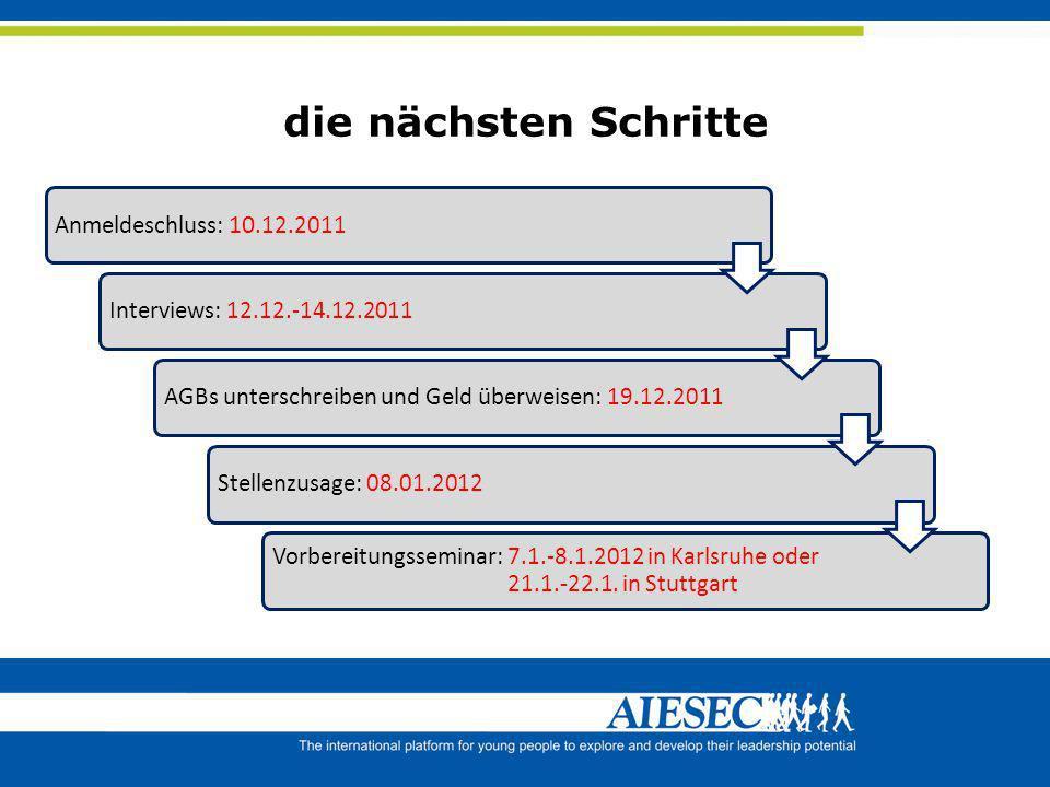 die nächsten Schritte Anmeldeschluss: 10.12.2011