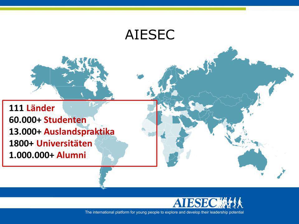 AIESEC 111 Länder 60.000+ Studenten 13.000+ Auslandspraktika
