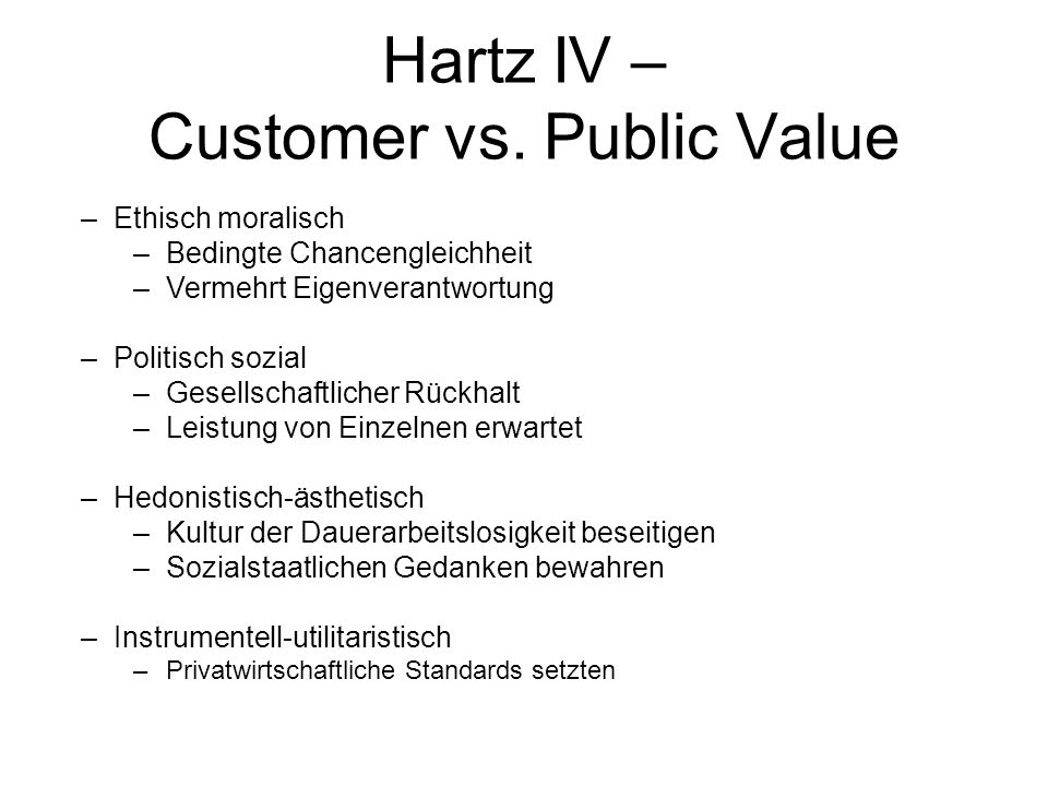 Hartz IV – Customer vs. Public Value