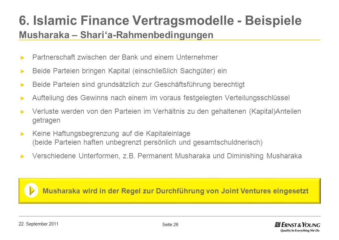 6. Islamic Finance Vertragsmodelle - Beispiele Musharaka – Shari'a-Rahmenbedingungen