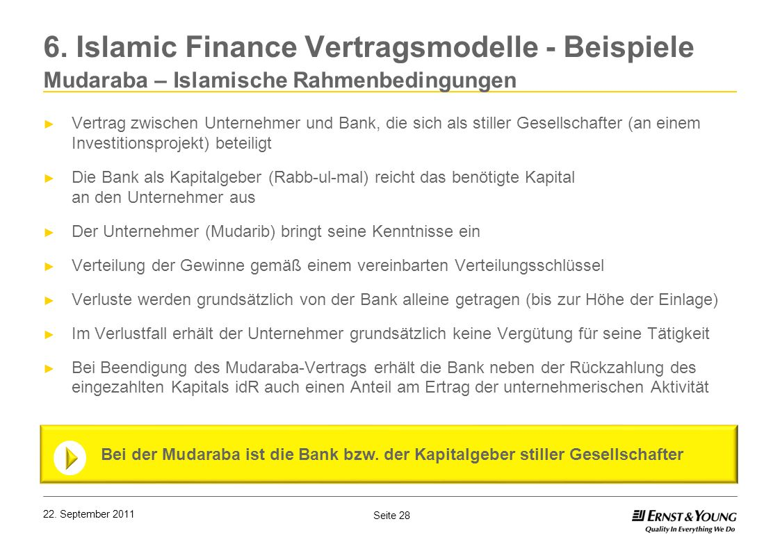 6. Islamic Finance Vertragsmodelle - Beispiele Mudaraba – Islamische Rahmenbedingungen