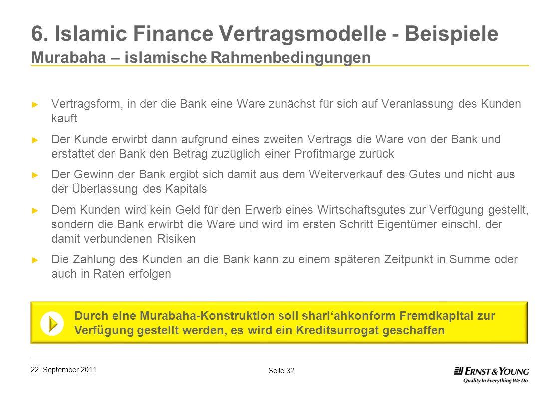 6. Islamic Finance Vertragsmodelle - Beispiele Murabaha – islamische Rahmenbedingungen