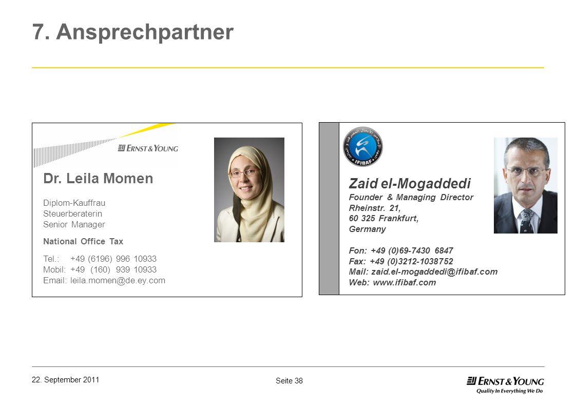 7. Ansprechpartner Dr. Leila Momen Zaid el-Mogaddedi