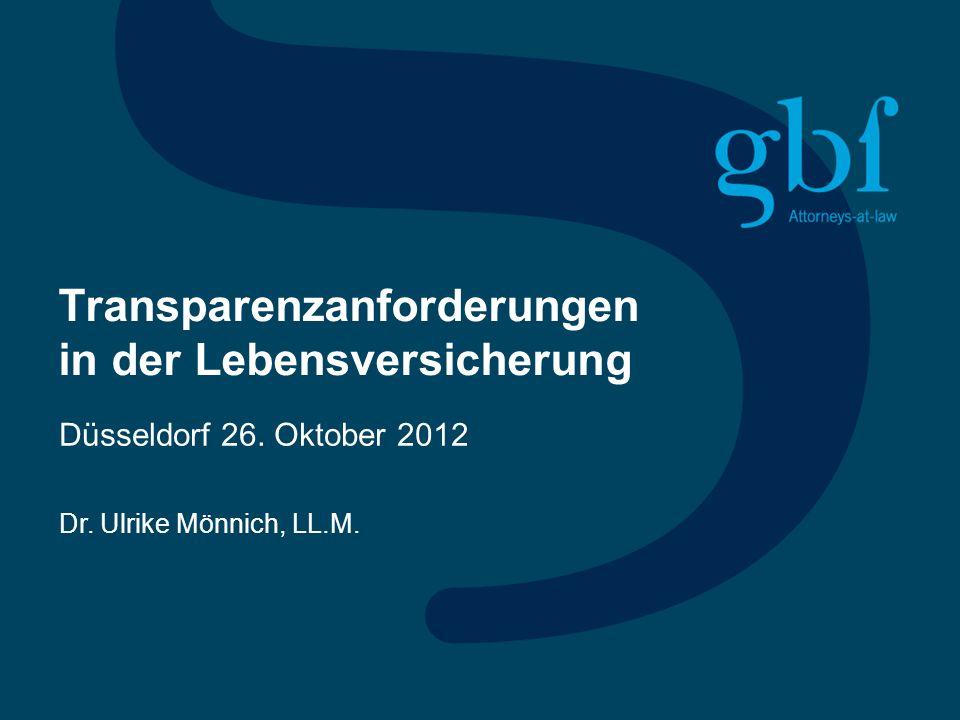 Transparenzanforderungen in der Lebensversicherung