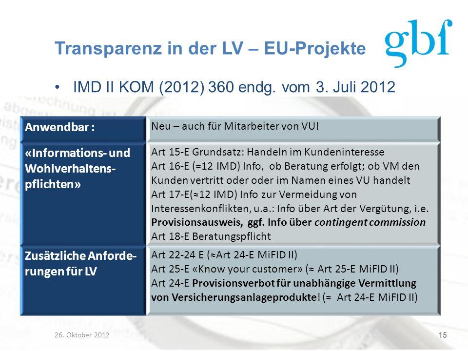 Transparenz in der LV – EU-Projekte