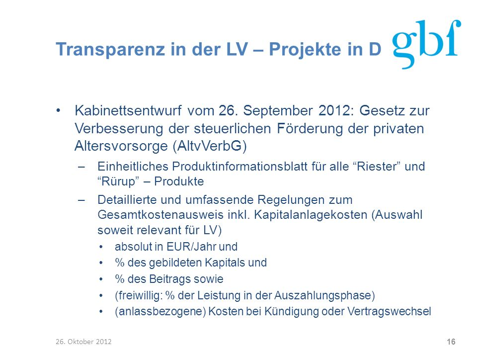 Transparenz in der LV – Projekte in D