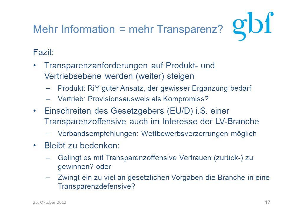 Mehr Information = mehr Transparenz
