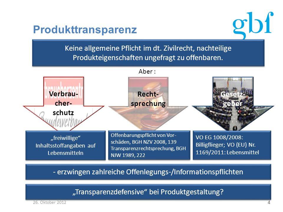Produkttransparenz Keine allgemeine Pflicht im dt. Zivilrecht, nachteilige Produkteigenschaften ungefragt zu offenbaren.