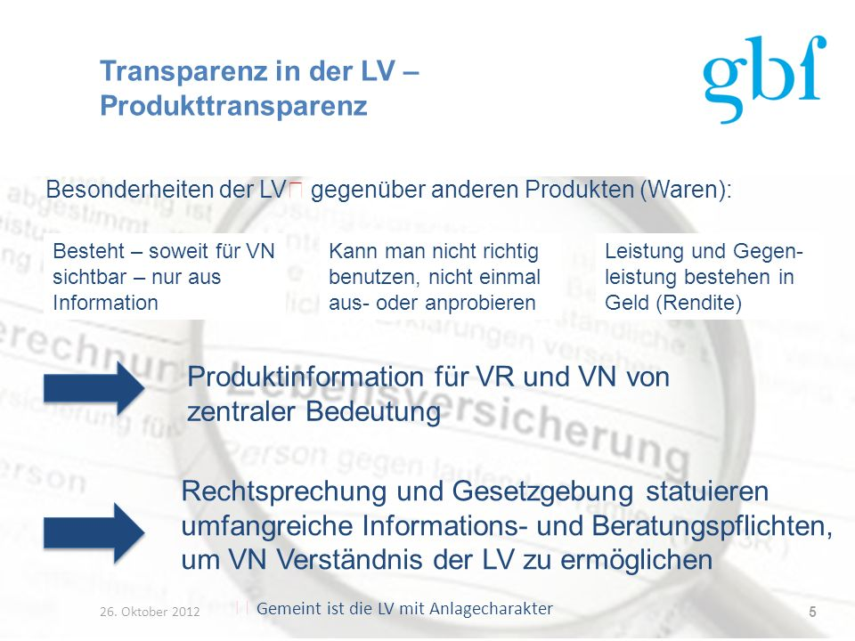Transparenz in der LV – Produkttransparenz