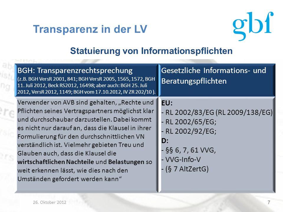 Statuierung von Informationspflichten