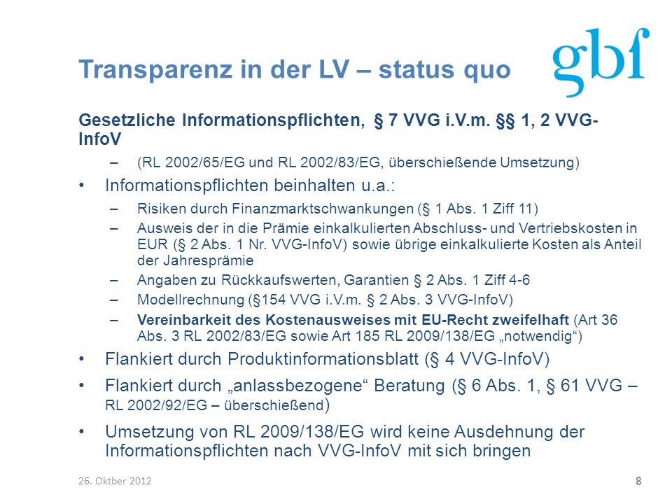 Transparenz in der LV – status quo