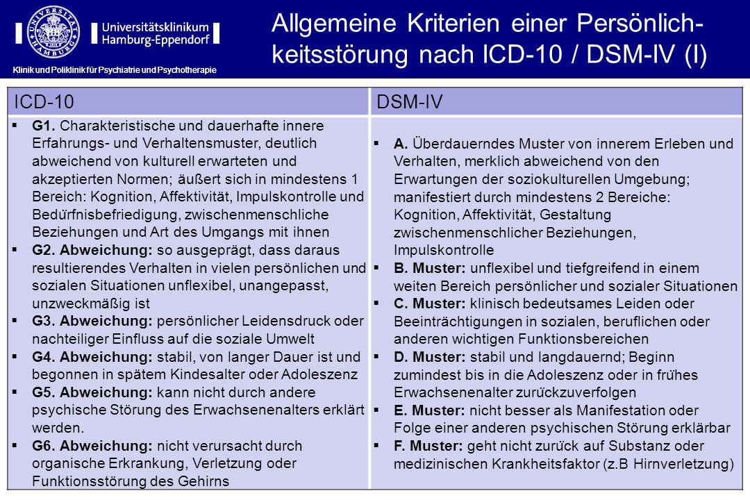Allgemeine Kriterien einer Persönlich-keitsstörung nach ICD-10 / DSM-IV (I)