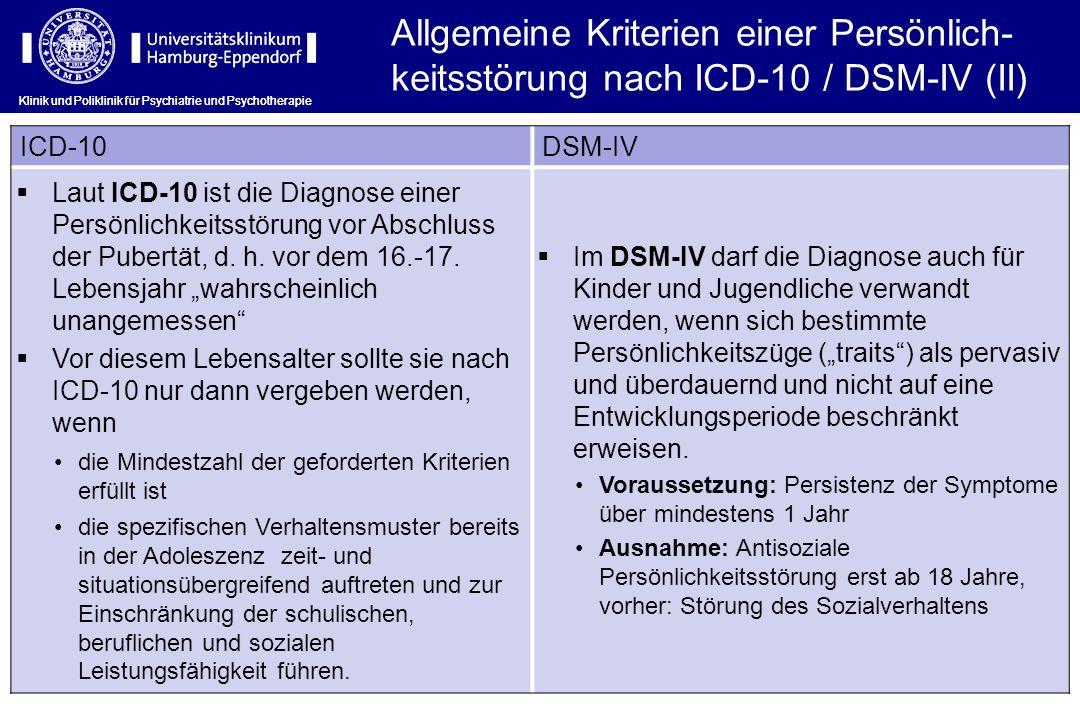 Allgemeine Kriterien einer Persönlich-keitsstörung nach ICD-10 / DSM-IV (II)