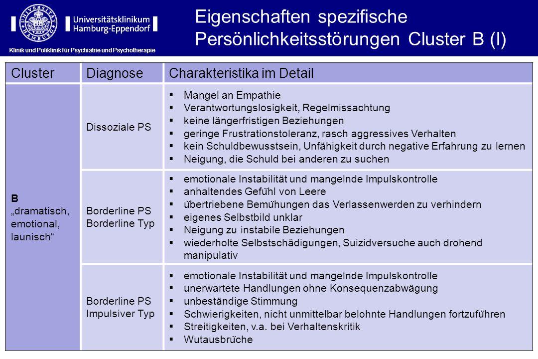 Eigenschaften spezifische Persönlichkeitsstörungen Cluster B (I)