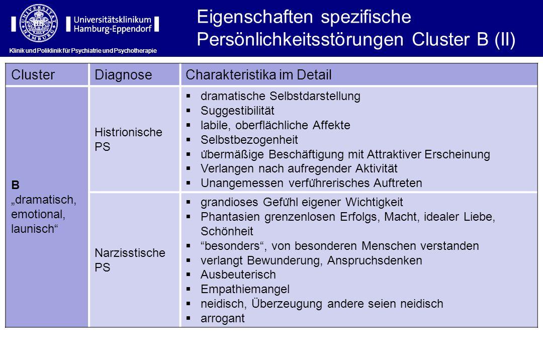 Eigenschaften spezifische Persönlichkeitsstörungen Cluster B (II)