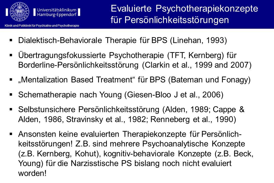 Evaluierte Psychotherapiekonzepte für Persönlichkeitsstörungen