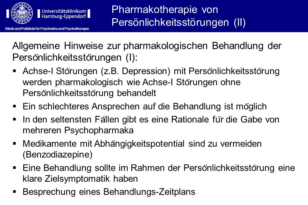 Pharmakotherapie von Persönlichkeitsstörungen (II)