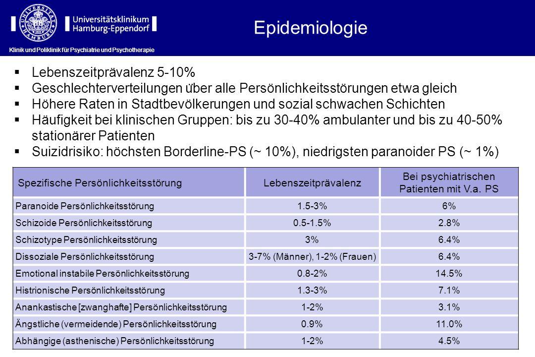 Epidemiologie Lebenszeitprävalenz 5-10%