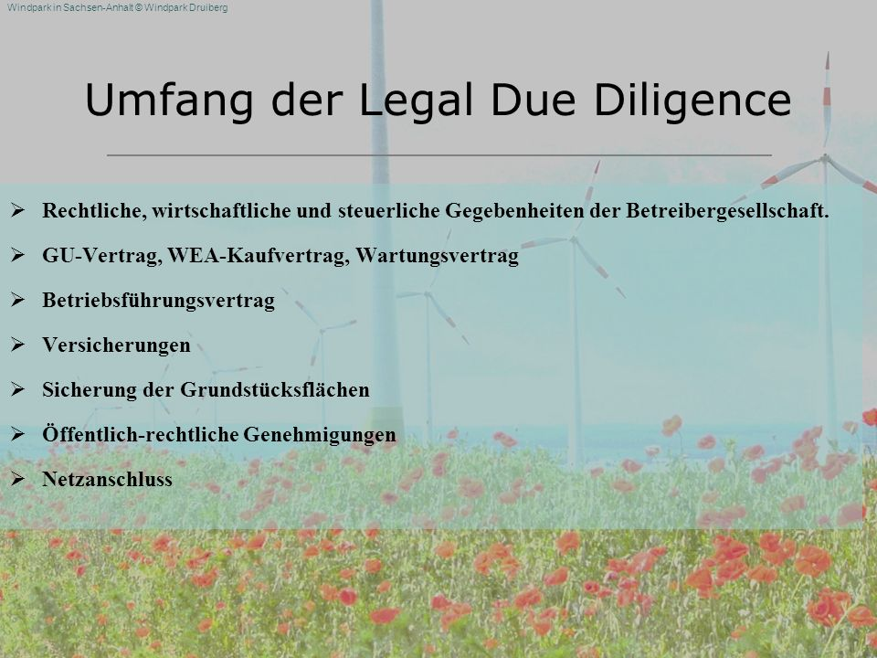 Umfang der Legal Due Diligence