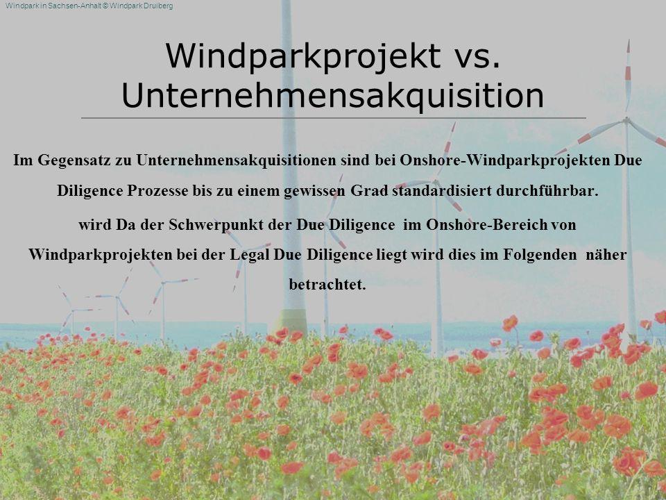 Windparkprojekt vs. Unternehmensakquisition