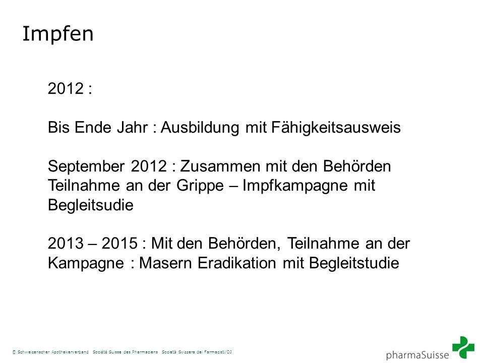 Impfen 2012 : Bis Ende Jahr : Ausbildung mit Fähigkeitsausweis