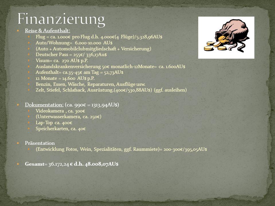 Finanzierung Reise & Aufenthalt:
