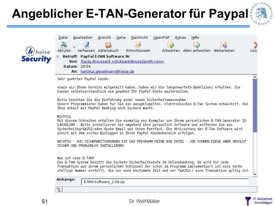 Angeblicher E-TAN-Generator für Paypal