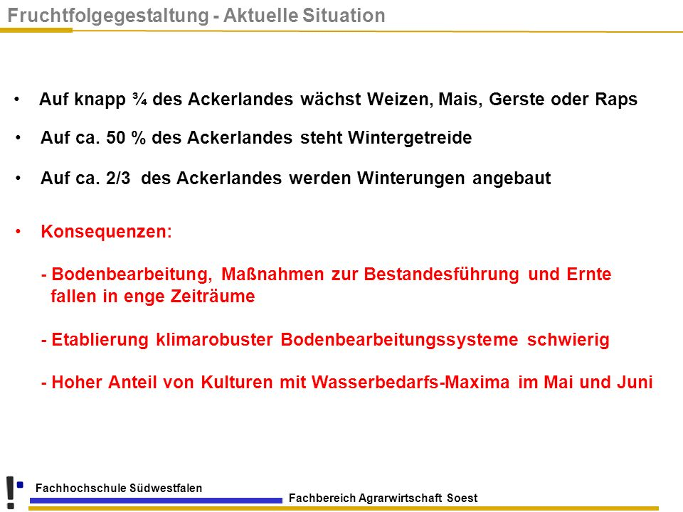 Fruchtfolgegestaltung - Aktuelle Situation