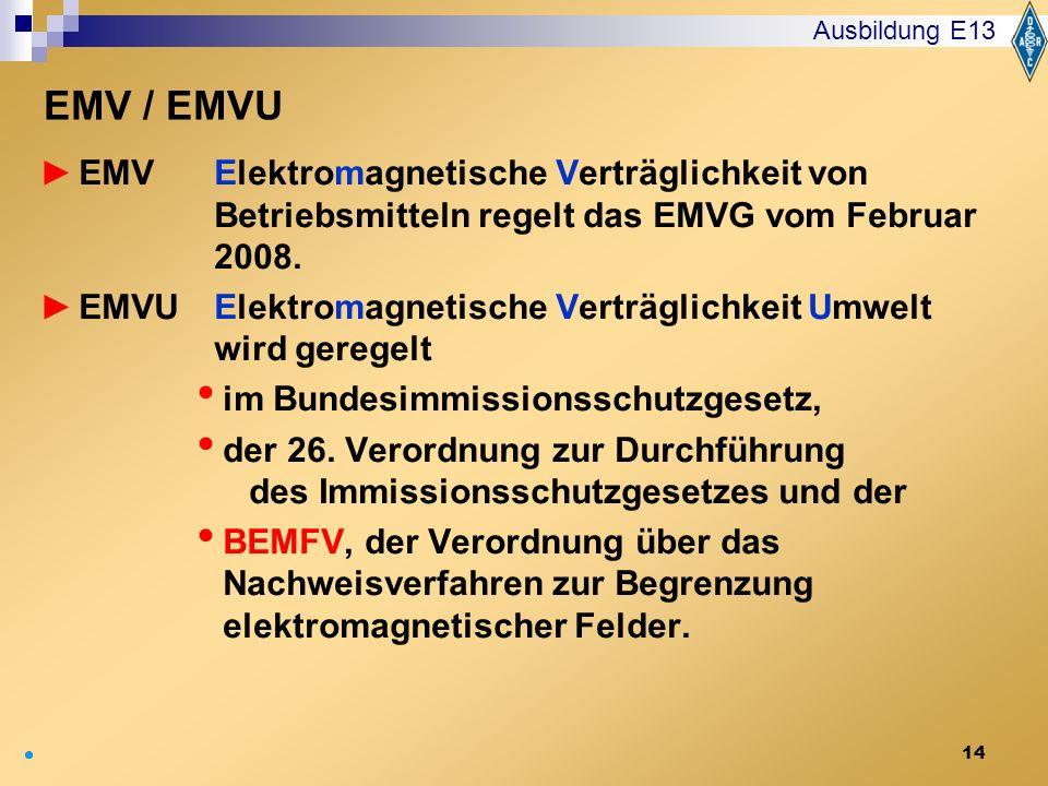 Ausbildung E13 EMV / EMVU. EMV Elektromagnetische Verträglichkeit von Betriebsmitteln regelt das EMVG vom Februar 2008.