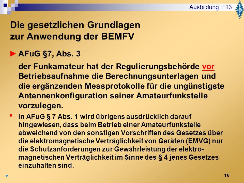 Die gesetzlichen Grundlagen zur Anwendung der BEMFV
