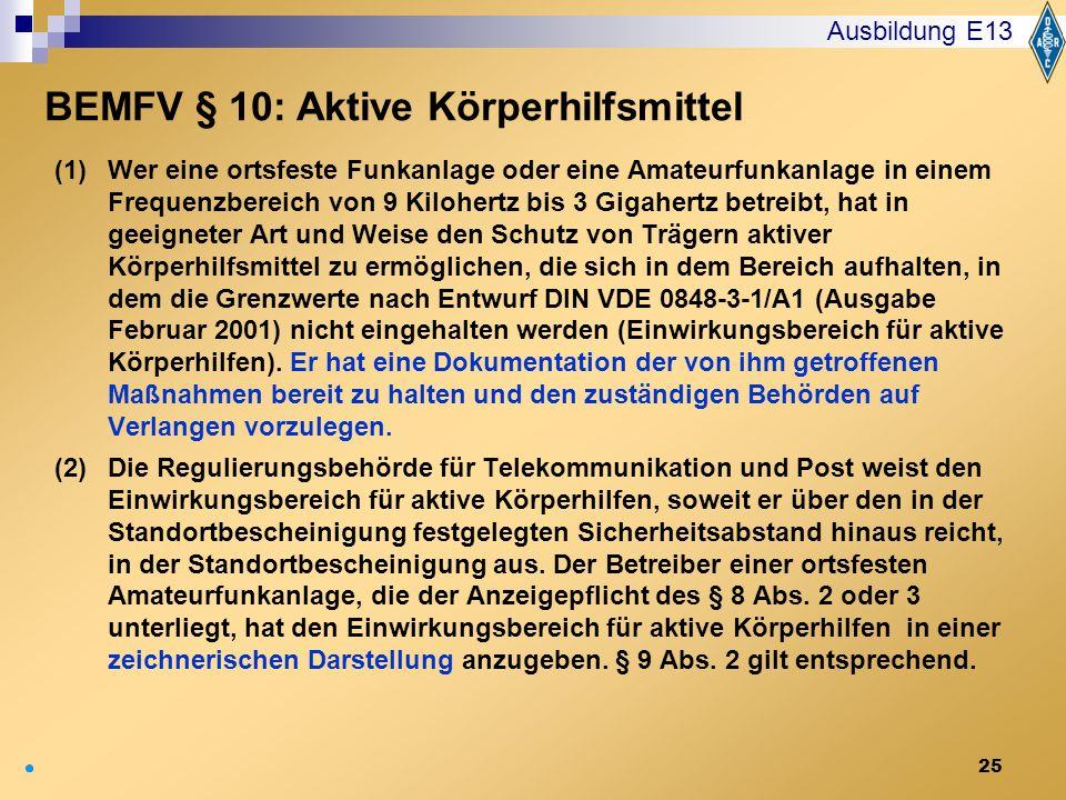 BEMFV § 10: Aktive Körperhilfsmittel