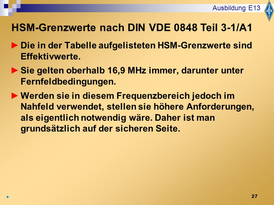 HSM-Grenzwerte nach DIN VDE 0848 Teil 3-1/A1