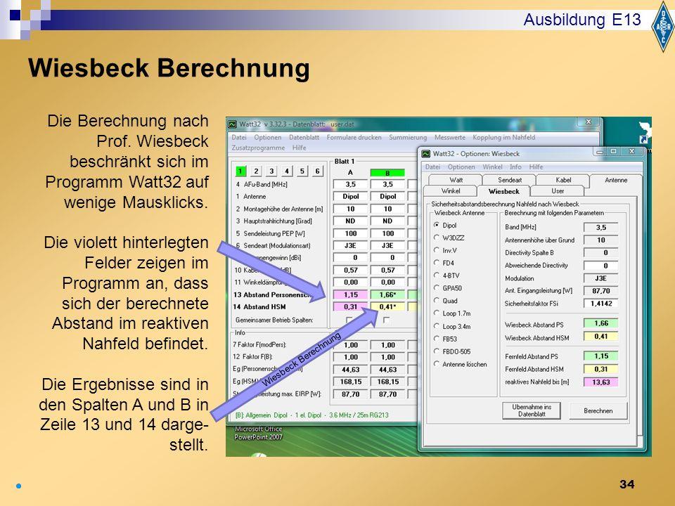 Wiesbeck Berechnung Ausbildung E13