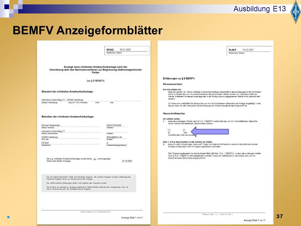 BEMFV Anzeigeformblätter