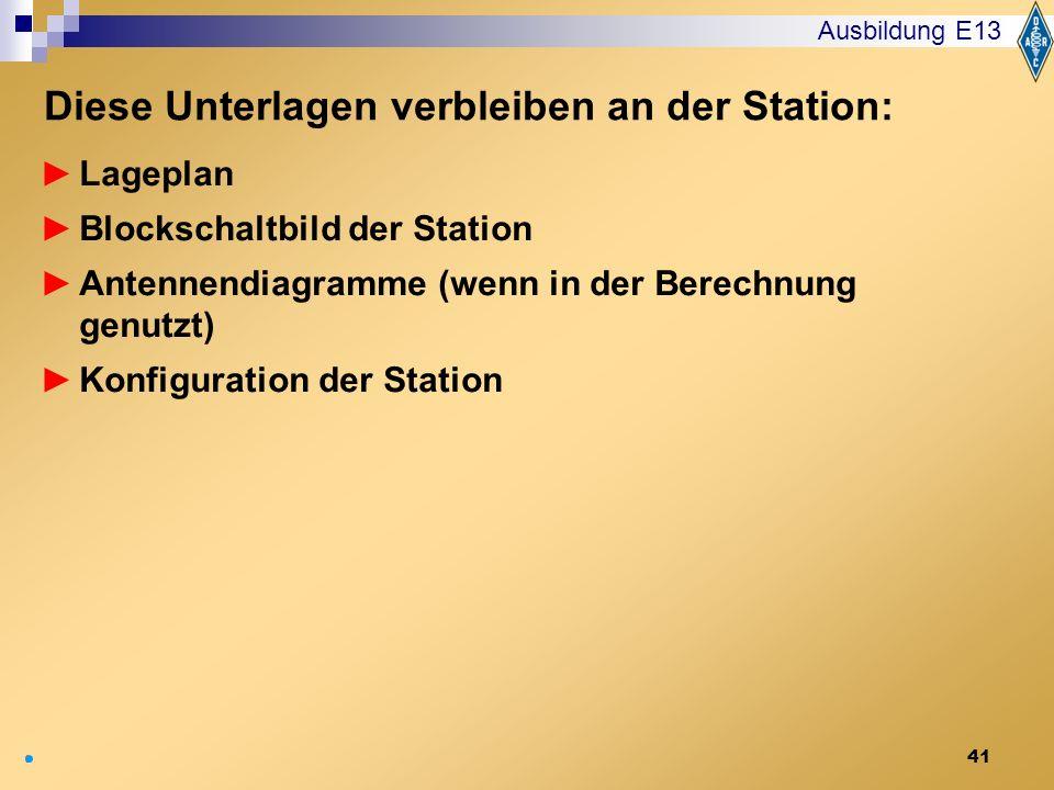 Diese Unterlagen verbleiben an der Station: