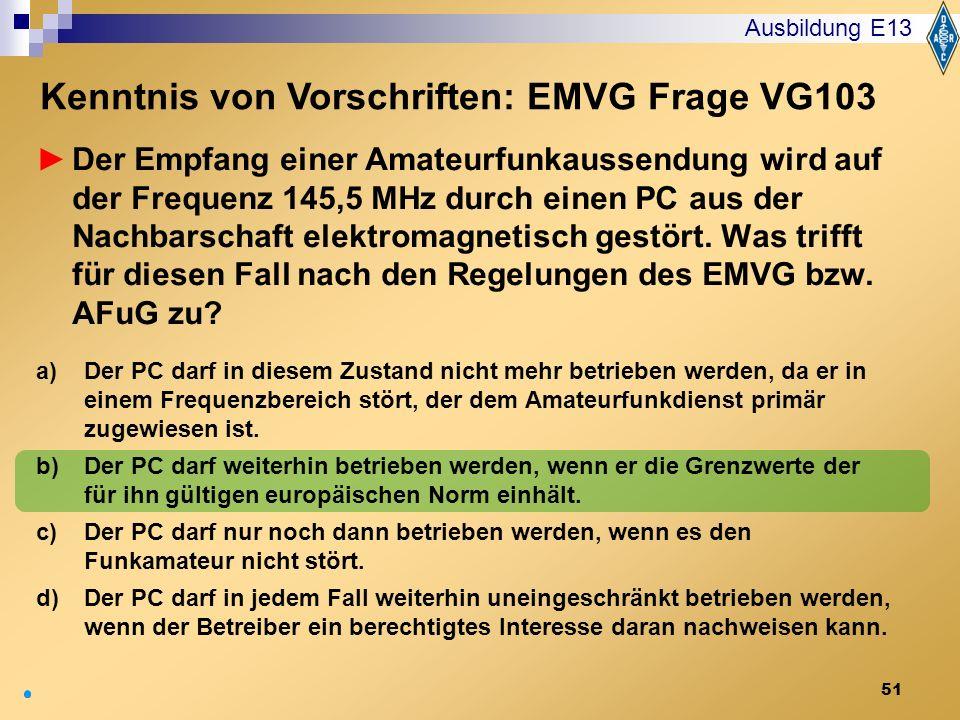 Kenntnis von Vorschriften: EMVG Frage VG103