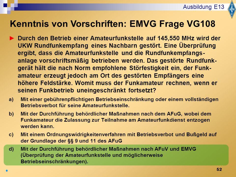 Kenntnis von Vorschriften: EMVG Frage VG108