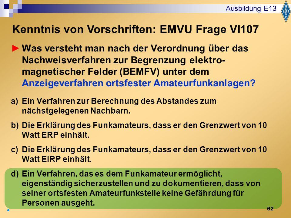 Kenntnis von Vorschriften: EMVU Frage VI107