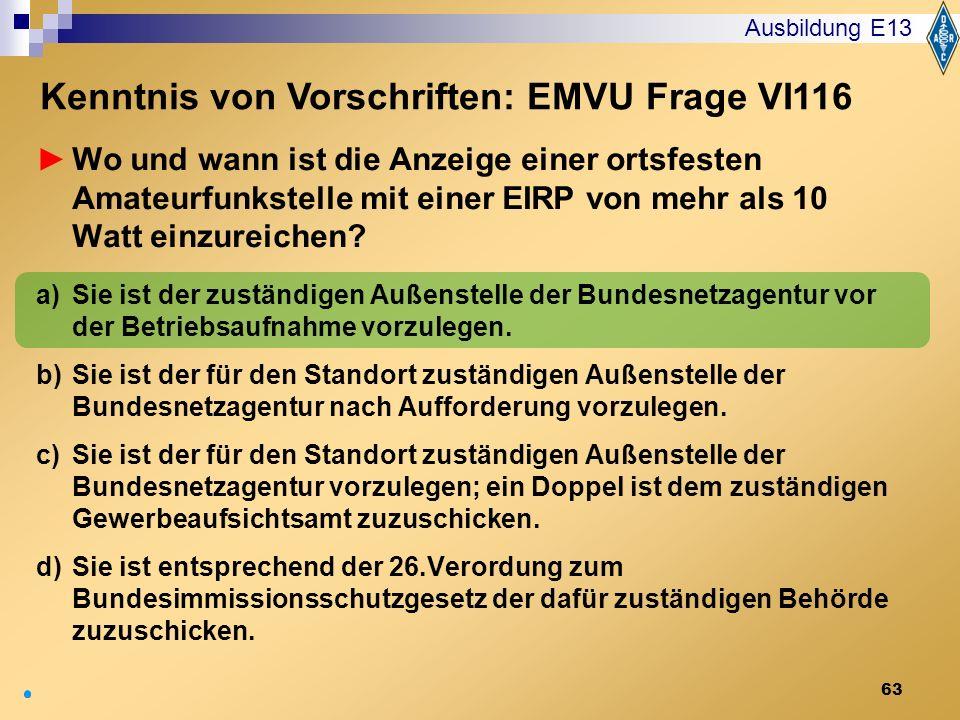 Kenntnis von Vorschriften: EMVU Frage VI116