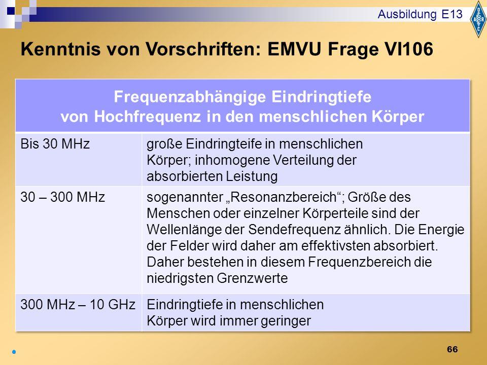 Kenntnis von Vorschriften: EMVU Frage VI106