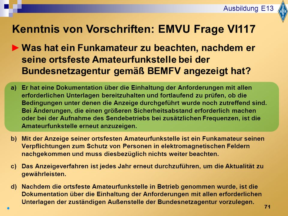 Kenntnis von Vorschriften: EMVU Frage VI117